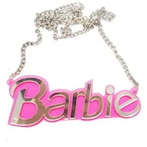 🆕Large Barbie Glitter Pink Chain Acrylic Necklace